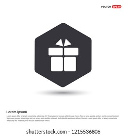 Gift Box Icon Hexa White Background icon template - Free vector icon