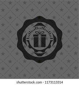 gift box icon inside black emblem