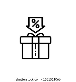 Gift Box Icon Outline Vector. Holiday Sale Icons. Online Shop Ikon.