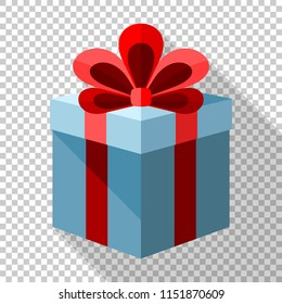 Gift box icon with red bow in flat style with long shadow on transparent background