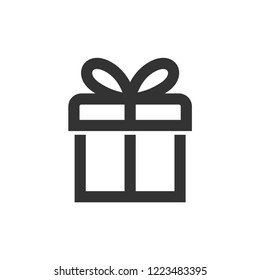Gift box icon in thick outline style. Black and white monochrome vector illustration.