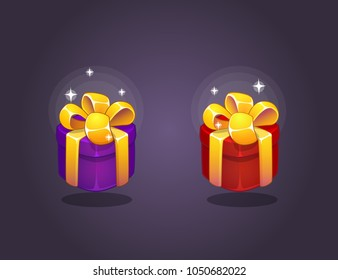 Gift Box Icons for a game interfaces. Funny cartoon gift boxes set. Reward  Vector icon. Getting rewards in a game. GUI set elements for mobile, video or web games.