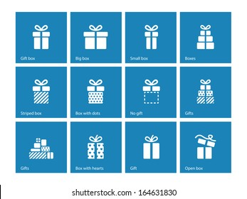 Gift box icons on blue background. Vector illustration.