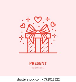 Gift in box illustration. Flat line icon, souvenir shop logo. Valentines day present sign.