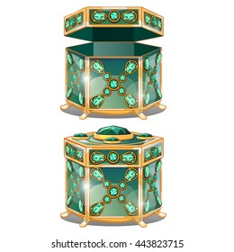 Gift box inlaid with precious stones. Casket for storing jewelry isolated on a white background. Vector illustration.