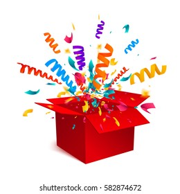 Gift box isolated on white background with confetti explosion. An open empty red box. Surprise box icon concept. Vector illustration