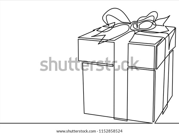 Christmas Gift Box Drawing.Gift Box Linecontinuous Line Drawing Christmas Stock Vector