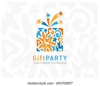 Gift box logo. Emblem for party or fireworks shop, birthday or anniversary events