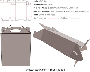 Gift box for many products die cut vector