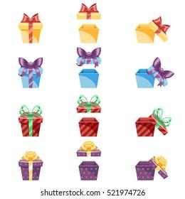 Gift Box New Year Cartoon Flat Design Icon Set Template Vector Illustration