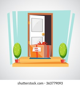 gift box on the floor of entry of the house. surprise or delivery concept - vector illustration