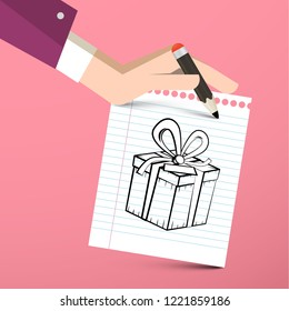 Gift Box on Paper Notebook with Pencil in Hand - Vector