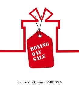 Gift box on a sale, Boxing day price tag sale design. red vector illustrator