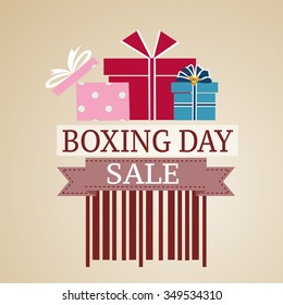 Gift box on a sale, Boxing day price tag sale design. red vector illustration.