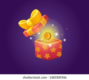 Gift Box Open Icon for a game interfaces. Reward Vector icon. Getting rewards in a game. GUI set elements for mobile, video or web games. Isolated on the background