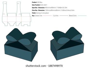 Gift box packaging design template snap lock bottom gluing die cut - vector
