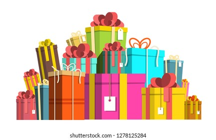 Gift Box Pile. Colorful Paper Vector Present Boxes Heap Isolated on White Background.