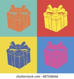 Gift box pop art style
