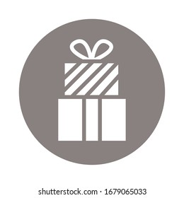 gift box present block style icon vector illustration design