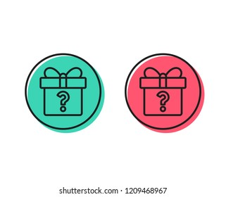 Gift box with Question mark line icon. Present or Sale sign. Birthday Shopping symbol. Package in Gift Wrap. Positive and negative circle buttons concept. Good or bad symbols. Secret gift Vector