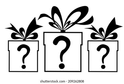 Gift box with a question mark. Vector Illustration