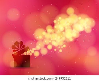 Gift box in the red background bokeh. Vector illustration  for the holidays