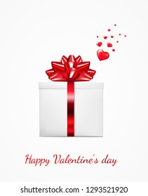 Gift box with red ribbon and bow. Happy Valentine's day greeting card.