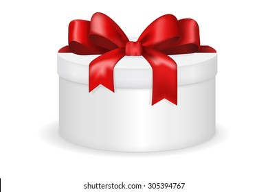 Gift box with red ribbon and bow. Christmas gift. Vector illustration