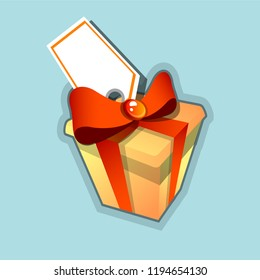 Gift box with red ribbon isolated. Vector illustration.