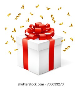 Gift box with red ribbon and serpentine isolated on white  background. Vector illustration.