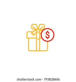 Gift box with ribbon and dollar coin sign, money prize, birthday present, bonus points, discount offer, vector mono line icon