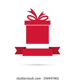 Gift box with ribbon. flat design. banners, graphic or website layout  template. red