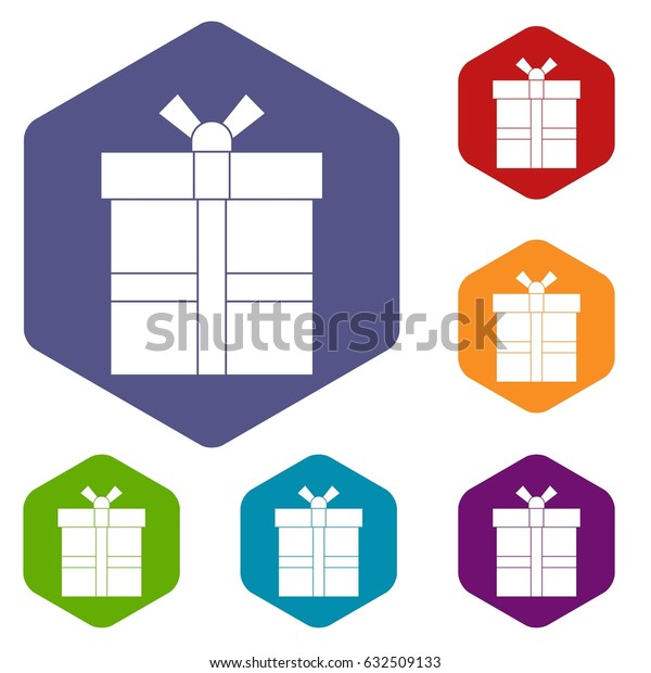 Gift box with ribbon icons set hexagon isolated vector illustration