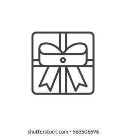 Gift box with ribbon line icon, outline vector sign, linear pictogram isolated on white. Present symbol, logo illustration