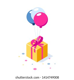 Gift box with ribbon on ballons. Gift symbol. Surprise for a holiday or birthday. Can use for web banner, infographics, hero images. Vector isometric 3d illustration.