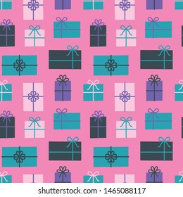 Gift box seamless pattern, Christmas presents. Vector illustration