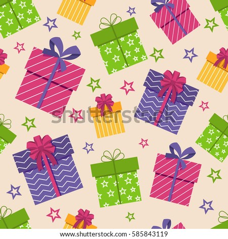 gift box seamless pattern vector boxes with gifts and stars background for texture design