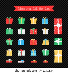 Gift Box Set Isolated on Dark Transparent Background. Colorful Gift Boxes in Different Colors and Patterns for Christmas, New Year and Another Events. Flat Vector Illustration.