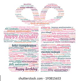 Gift Box Shaped Happy Birthday in Word Cloud