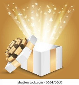 Gift box with shining light and stars. Vector illustration