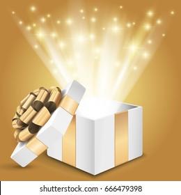 Gift box with shining light. Vector illustration