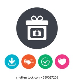 Gift box sign icon. Present with photo camera symbol. Download arrow, handshake, tick and heart. Flat circle buttons.