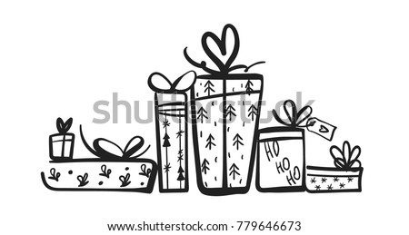 Gift Box Silhouette Set Collection Christmas Stock Vector Royalty