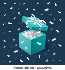 Gift Box and silver Confetti. Teal jewelry box on dark background. Template for cosmetics and jewelry shops. Christmas Background. Vector Illustration.