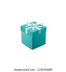 Gift Box and silver Confetti. Turquoise jewelry box. Template for cosmetics and jewelry shops. Christmas Background. Vector Illustration.