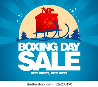 Gift box and sled against winter landscape, Boxing day sale design.