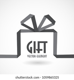 Gift box in the style of origami ribbon, vector illustration