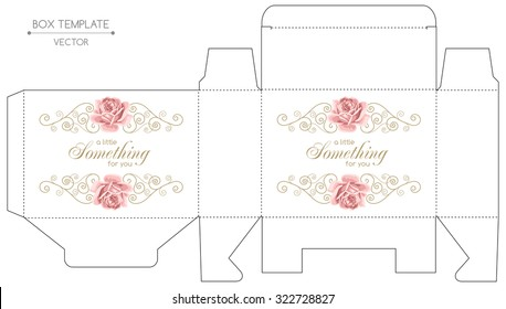 Gift box template with hand drawn roses and curly design elements in retro style. Die-stamping