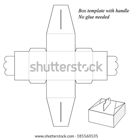 Gift Box Template Handle No Glue Stock Vector Royalty Free