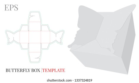 Gift Box Template, Vector with die cut / laser cut layer. Butterfly Candy Box, Self Lock, Packaging Design. White, blank, isolated mock up on white background, perspective view, Packaging design